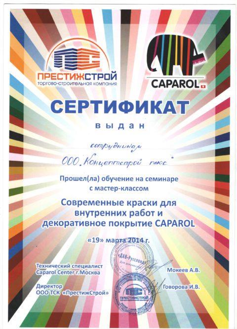 сертификат Caparol Center